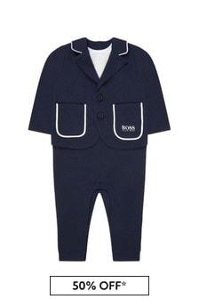 Boss Kidswear Baby Boys Navy Cotton Romper