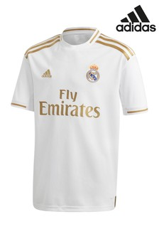 adidas Youth White Real Madrid FC 19/20 Home Jersey Top