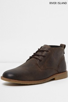 33226bb16b5 River Island Brown Leather Chukka Boot