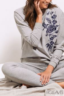 Figleaves Grey Hummingbird Embroidered Sweatshirt