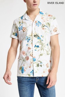 River Island White Floral Short Sleeve Shirt