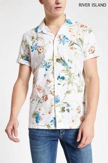 Chemise River Island imprimé floral blanche à manches courtes