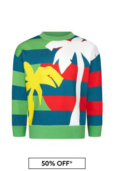 Stella McCartney Kids Boys Green Cotton Sweater