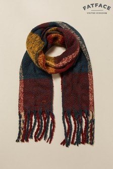 FatFace Red Brushed Check Scarf