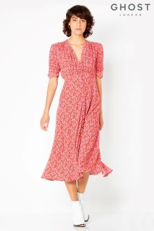 Ghost London Red Printed Flo Tea Dress