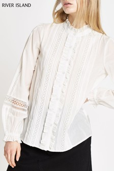 River Island White Victoriana Detail Blouse
