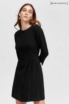 Warehouse Black Kilt Pleat Mini Dress