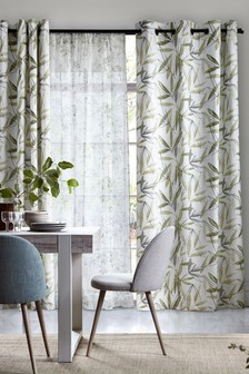 Tropical Palm Print Eyelet Curtains