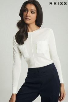 Reiss White Kamara Twin Pocket Jersey Top