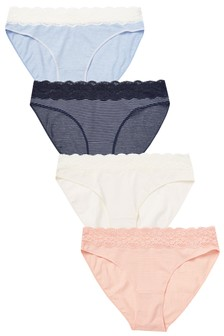 Lace Trim Cotton Knickers Four Pack