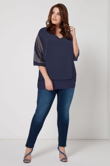 Live Unlimited Navy Overlay Chiffon Blouse