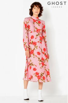 Ghost London Pink Floral Kerri High Neck Dress