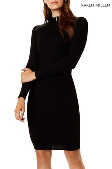 Karen Millen Black PU Zip Detail Knit Dress