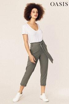 Oasis Green Paperbag Peg Trouser