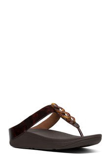 FitFlop™ Brown Tortoiseshell Chain Fino Toe Post
