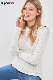 Superdry Cream Croyde Cable Knit Jumper
