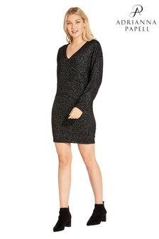 Adrianna Papell Black Knit Dolman Sleeve Sheath Dress