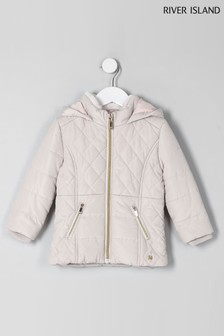 River Island Cream Short Padded Quilted Jacket