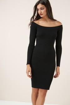 Rib Bardot Dress