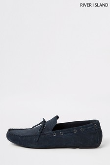 River Island Navy Tie Detail Embossed Driver Shoes