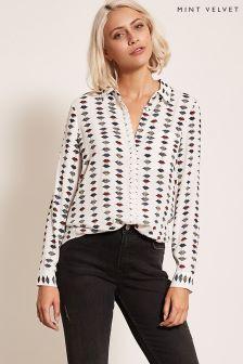 Mint Velvet White Daniela Print Shirt