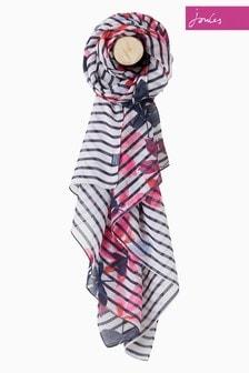 Светло-коричневый шарф в полоску с рисунком листьев Joules
