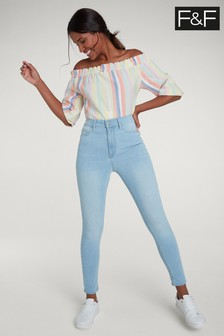 F&F Light Wash High Waisted Jean