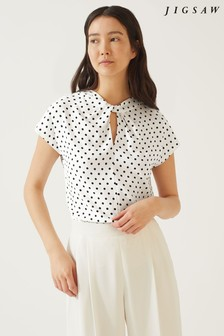 Jigsaw White Spot Twist Neck Top