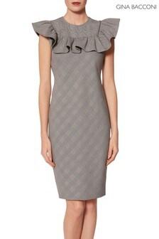 Gina Bacconi Grey Lorella Check Frill Dress