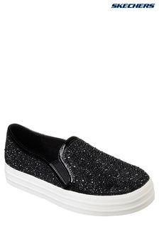 Pantofi fără șiret cu model floral și strasuri Skechers® negri