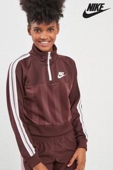 Nike Burgundy Taped 1/4 Zip Track Top