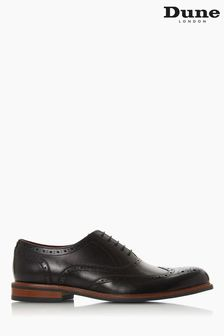 Dune London Pollodium Black Leather Heavy Brogue Shoes