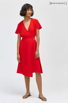 Warehouse Crepe Wrap Dress