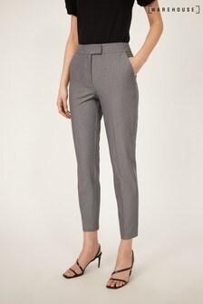 Warehouse Dark Grey Slim Leg Cropped Trousers