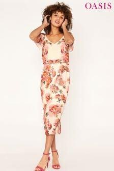 Różowa sukienka midi Oasis Romance, z odkrytymi ramionami