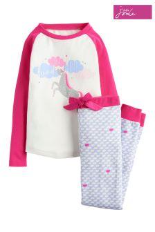Joules Cream Unicorn Jersey Pyjama Set