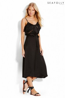 Seafolly Black Ruffled Midi Dress