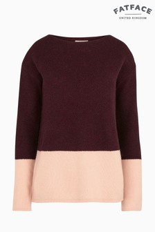 FatFace Purple Sophie Textured Block Jumper