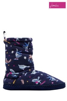 Joules Navy Ski Print Homestead Jersey Slipper