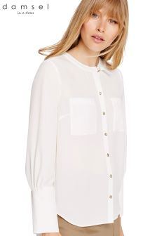 Damsel In A Dress White Jessy Neck Detail Blouse