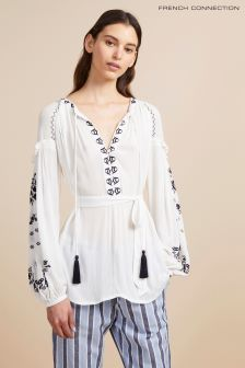 French Connection White Edessa Crinkle Folk Top