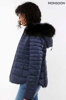 Monsoon Blue Monica Quilted Faux Fur Collar Coat