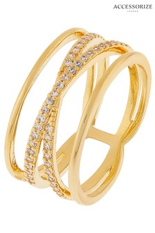 Z by Accessorize Crystal Criss Cross Sparkle Ring