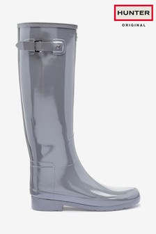 Hunter Womens Grey Original Refined Tall Gloss Wellies