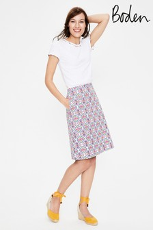 Boden Multi Printed Cotton A-Line Skirt