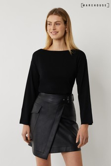 Warehouse Black Slash Neck Compact Jumper
