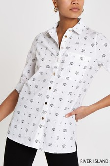 River Island White Print Casual Shirt