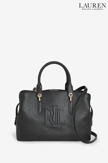 Ralph Lauren Leather Embossed Hayward Satchel Bag