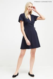 French Connection Blue Crepe Jersey V-Neck Wrap Dress