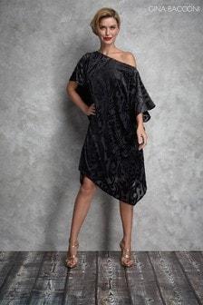 Gina Bacconi Black Oleta Elegant Kaftan Dress